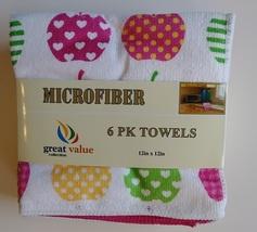 "APPLE HEART MICROFIBER TOWELS 6-pack Dishcloths 12""x12"" Pink Dish Cloths Apples image 2"
