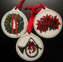 Sears Roebuck and Company Christmas Ornament Set of Three Disk Style Orignal Box - $8.99