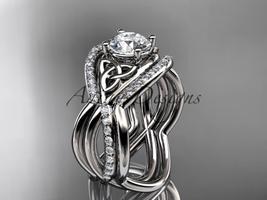 Unique engagement ring set,14kt white gold celtic trinity knot engagemen... - $2,725.00