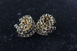 Vintage Gold Tone Black Rhinestone Clip Earrings - $19.80
