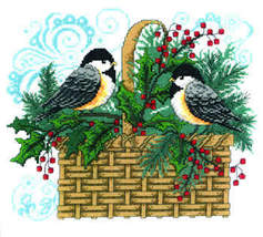 Winter Chickadee holiday cross stitch chart Imaginating - $6.30