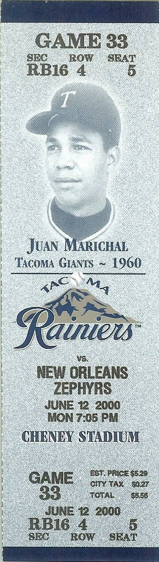 Primary image for 2000 juan marichal tacoma rainiers full ticket stub san francisco giants rare