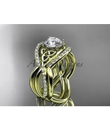 Unique engagement ring set,14kt yellow gold celtic trinity knot engageme... - $2,475.00