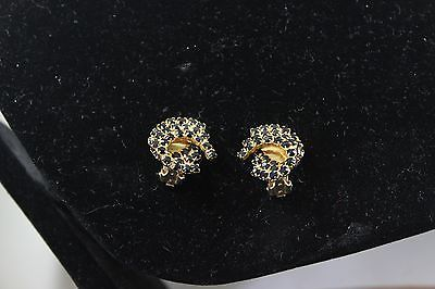Vintage Gold Tone Black Rhinestone Clip Earrings