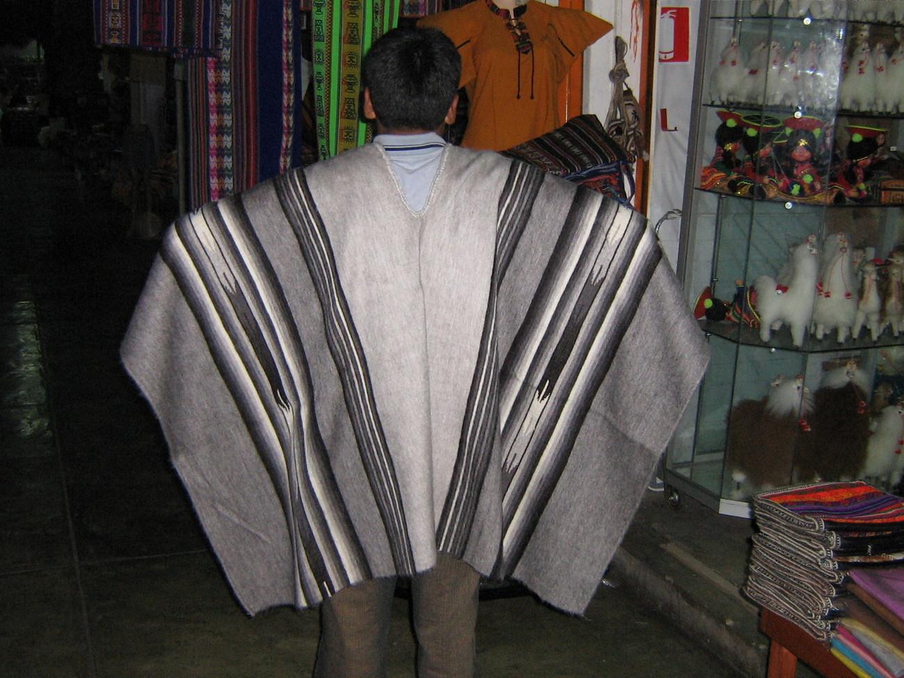 Peruvian Poncho,outerwear, alpaca wool, grey coat