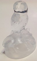Figurine Glass Owl Paperweight Heavy Clear Frosted Satin Glass Sitting o... - $21.78