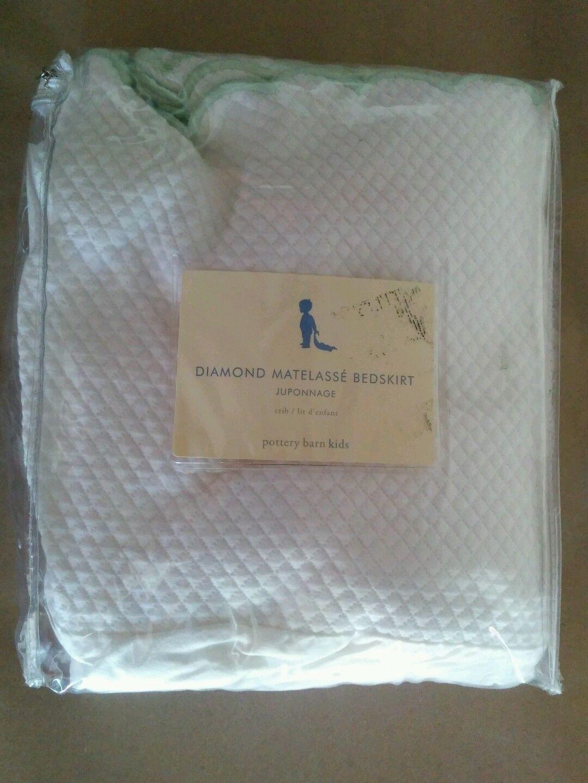 Pottery Barn Kids Scalloped Crib Bedskirt Dust Ruffle - White & Green