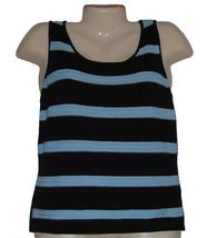 Womens Top Size 10 Tahari Silk Knit Light Blue Black Stripe Tank Sleevel... - $19.50