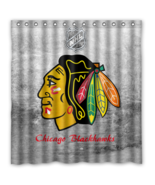 Chicago Black Hawks 02 Shower Curtain Waterproof Polyester Fabric For Ba... - $33.30+