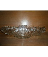 Vintage Fruit Bowl , Clear Glass with Gold Trim and Scalloped Edge - $10.00