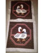 Set of 2 Goose Quilted Pillow Tops 1 is Already Quilted Brown and Red - $8.77