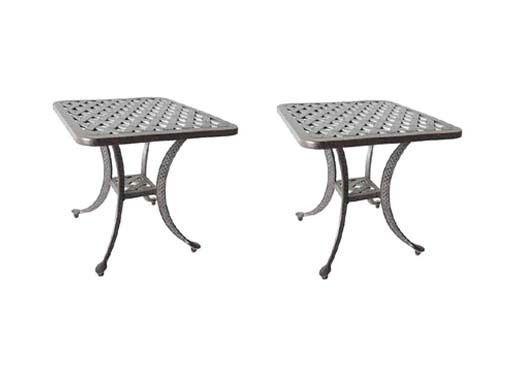 Patio End Tables set of  2 Outdoor furniture Nassau  cast Aluminum Bronze