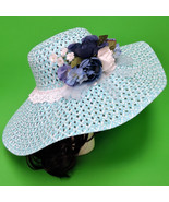 Large Hand-Decorated Wide-Brim Floppy Women's Sun Hat In Blue And White - $9.95