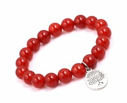 Red Agate Beads Bracelet Men Woman Buddha Prayer Meditation Silver Tree ... - $19.95