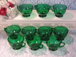 Vintage Anchor Hocking Charm Forest Green Punch Cup Set, Set of Ten Cups... - $32.99