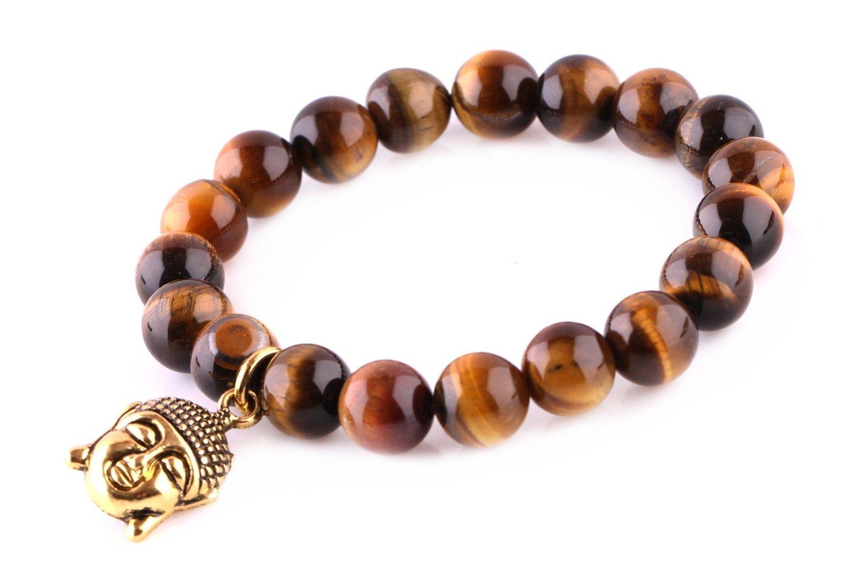 Tiger Eye Beads Bracelet Men Woman Prayer Meditation Yoga Golden Buddha