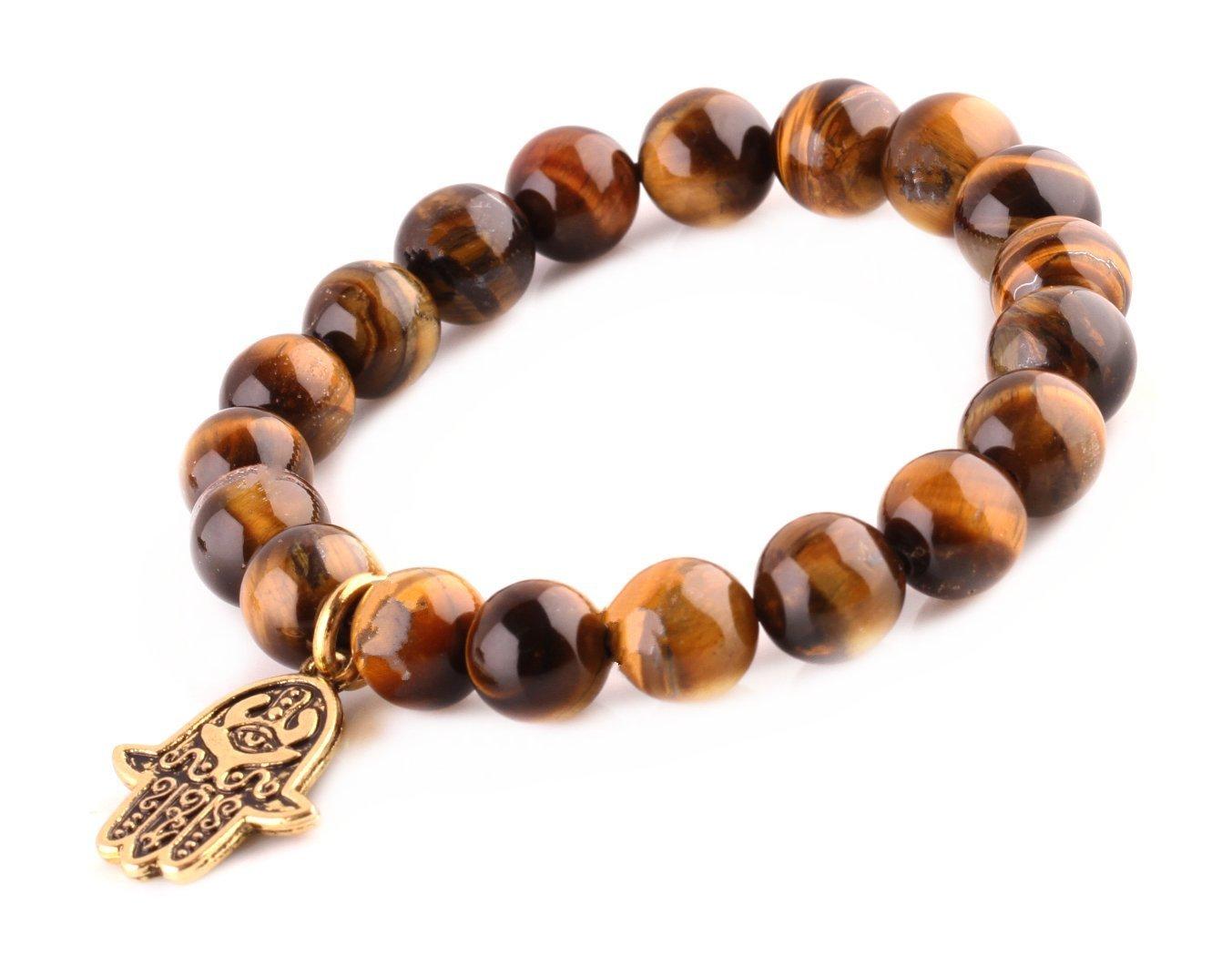 Tiger Eye Beads Bracelet Men Woman Buddha Prayer Meditation Yoga Golden Hamsa