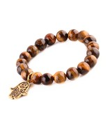 Tiger Eye Beads Bracelet Men Woman Buddha Prayer Meditation Yoga Golden ... - $19.95