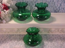 Vintage Anchor Hocking Charm Forest Green Ruffled Bud Vases, Set of Three - $22.99