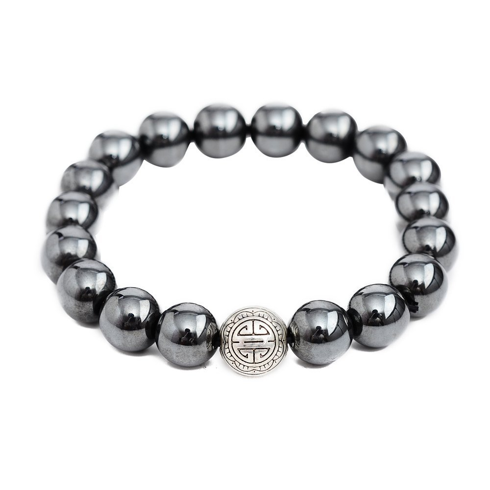 Primary image for Hematite Stone Energy Beads Bracelet Men Woman Yoga Prayer Silver Longevity