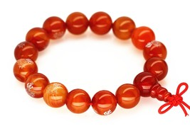 Red Agate Large Beads Meditation Bracelet Men Woman Prayer  - $17.95