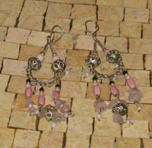 Light Pink Earrings - Silver pink Earrings - long earrings - Dangle earr... - $19.00