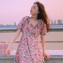 Vintage V Collar Short Sleeve Printing Japan Style Above Knee Mini Women's Dress - $31.99