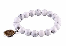 White Turquoise Stones Beads Bracelet Men Woman Prayer Gold Saint Benedi... - $19.95