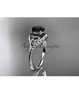 14k white gold diamond celtic trinity knot engagement ring, Black Diamon... - $1,500.00