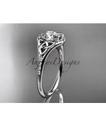 14kt white gold diamond celtic trinity knot engagement ring, Moissanite ... - $1,525.00