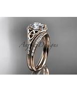 14kt rose gold diamond celtic trinity knot wedding ring, engagement set ... - $1,975.00