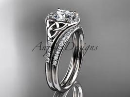 14kt white gold diamond celtic trinity knot engagement set,  Moissanite ... - $2,225.00