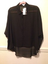 HELMUT Helmut Lang Black Sheer 100% Silk Top Size P/XS - $85.13