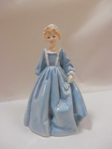 Vintage Royal Worcester Porcelain Figurine Grandma's Dress In Blue F.E. ... - $54.45