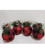 Christmas Buffalo Check Ball Holly Berries Black Red fabric Ornaments Se... - $25.99