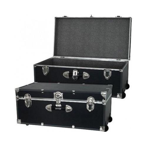 Black Trunks Lockable Wooden Storage Trunk Lock Box Chest College Dorm  School   $129.99