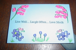 Handcrafted Paper Quill Plaque with Stand-New-Live Well - $12.50