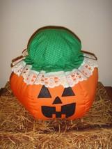 Jack O Lantern Stuffed Fabric Pumpkin Wearing Hat - $15.99
