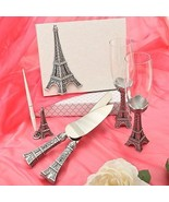 Eiffel Tower Wedding Accessory Set Cake Knife Server Toasting Flutes Pen... - $52.95