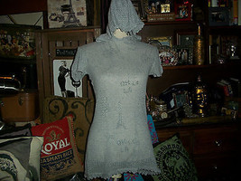 IISLI Mesmerizing Heather Gray Hooded Blouse Size M - $22.77