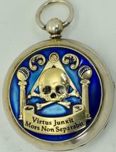 Rare Antique Victorian Masonic Memento Mori Skull and Bones silver and e... - $2,950.00