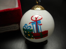 Greenbriar International Christmas Ornament Hand Painted Presents on Whi... - $7.99