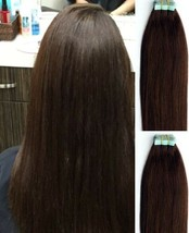 "18"",20"" 100gr,40pc,Tape in Hair Extensions 100% Remy Human Hair #2 Darkest Brown - $98.99+"