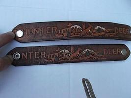 lot of 2 Men's Wrist Leather Tooled Bracelet Hunting Deer Buck Hunter Wr... - $6.49