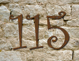 Set of 10 Rustic House Numbers or Letters / 2 Inch up to 8 Inch / Metal ... - $95.00+