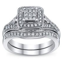 14k White Gold Over 925 Solid Silver Princess Cut Diamond Womens Bridal ... - $94.99