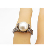 925 Sterling Silver - Vintage Pearl & Marcasite Cocktail Ring Sz 6 - R17936 - $27.96