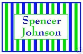 Blue/Green Stripes~Enclosure Card~Gift Tag~Personalized - $10.39