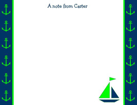 Personalized Sailboat FLAT Notecards~ Preppy Lime Green and Navy ~ NEW - $12.19