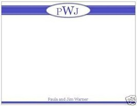 Personalized FLAT Notecards~ Blue Bars~ New for Spring - $12.19